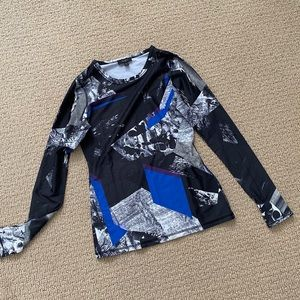Alala spandex long sleeve shirt NWOT blue black